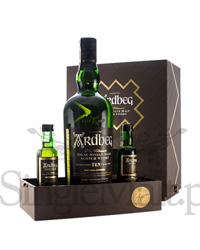 Ardbeg 10 Years Old + 2 minaturki Uigeadail i Corryvereckan / Exploration Pack / 46% / 0,7 l + 2x 0,05 l