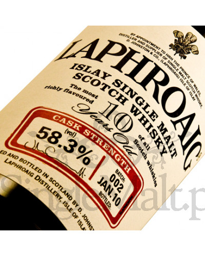 Laphroaig 10 Years Old Cask Strength (batch 2) / 58,3% / 0,7 l